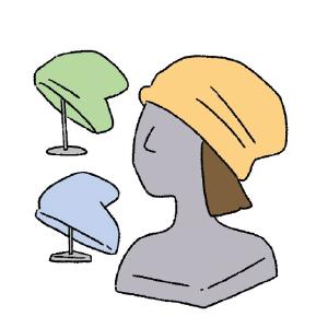 ウィッグや帽子
